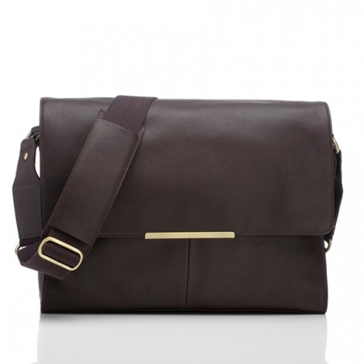 "Marshall Bergman 15"" Laptop Bag Alex Espresso Leather"