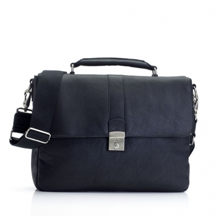 "Marshall Bergman 13'"" Laptop Bag  Eris Black Leather"