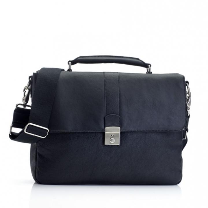 "Marshall Bergman 13'"" Laptop Bag  Eris Black Leather"